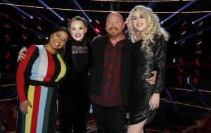 "THE VOICE -- ""Live Semi Finals"" Episode 1320B -- Pictured: (l-r) Brooke Simpson, Addison Agen, Red Marlow, Chloe Kohanski -- (Photo by: Trae Patton/NBC)"